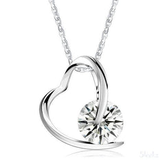 Sterling Silver Heart Necklace - Clear