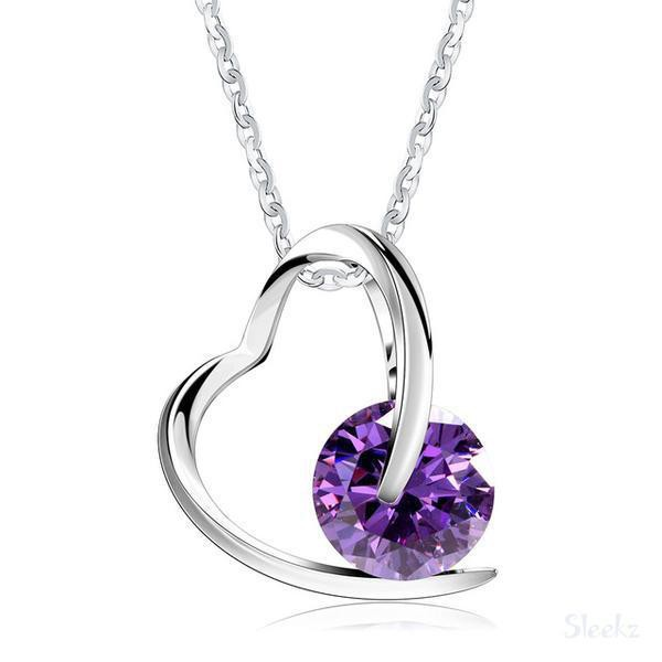 Sterling Silver Heart Necklace - Purple
