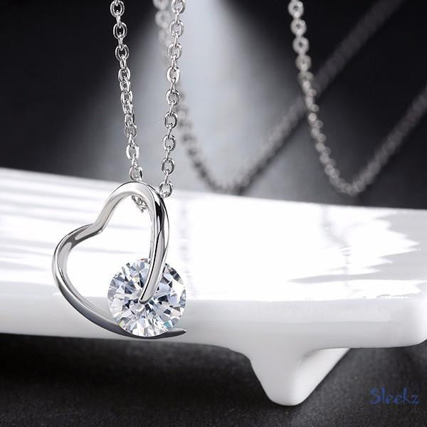 Sterling Silver Heart Necklace Clear