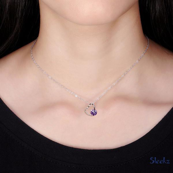 Sterling Silver Heart Necklace --Purple