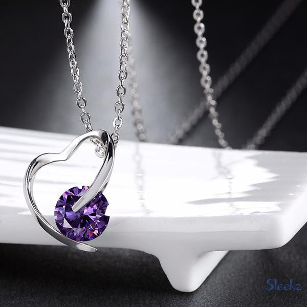 Sterling Silver Heart Necklace Purple