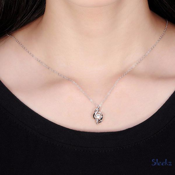 Sterling Silver Zircon Necklace Lady
