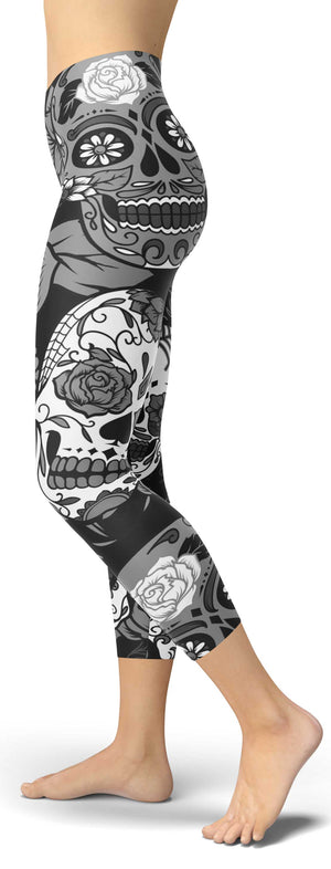 Black Sugar Skull Capri