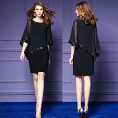 Roxanne Sequin Cape Dress