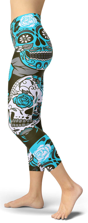 Blue Sugar Skull Capri