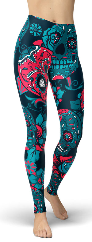 Blue Sugar Skull Leggings - front