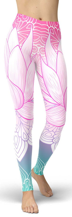 Colorful Lotus Leggings - front