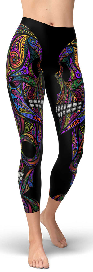 Colorful Ornamental Skull Capri - front