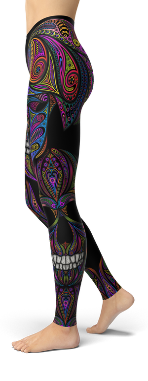 Colorful Ornamental Skull Leggings