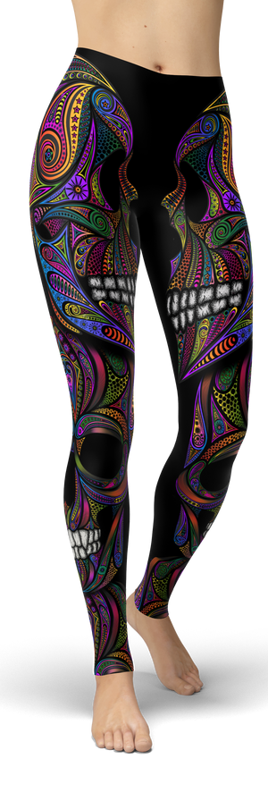 Colorful Ornamental Skull Leggings - front