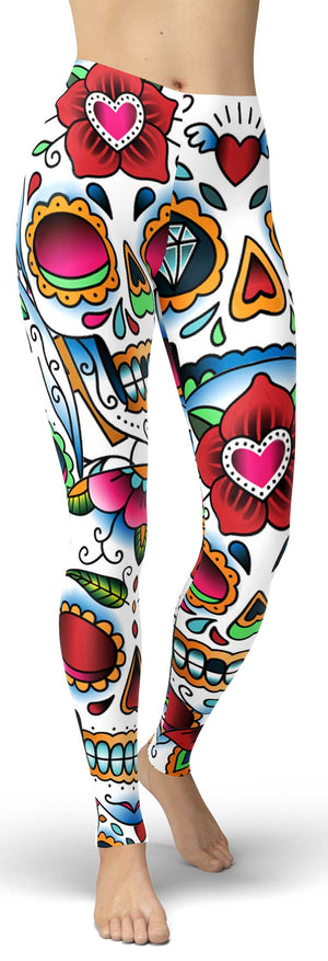 Colorful Sugar Skull Leggings front
