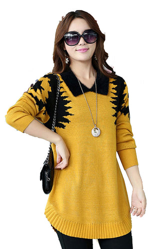 Yellow Elegant Dress Sweater Front