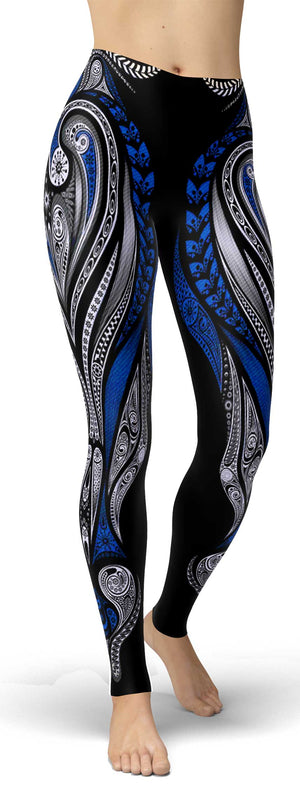 Blue Ornamental Leggings front