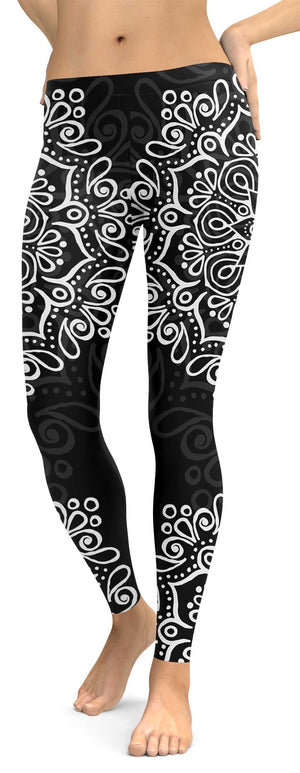 Black White Mandala Leggings - front
