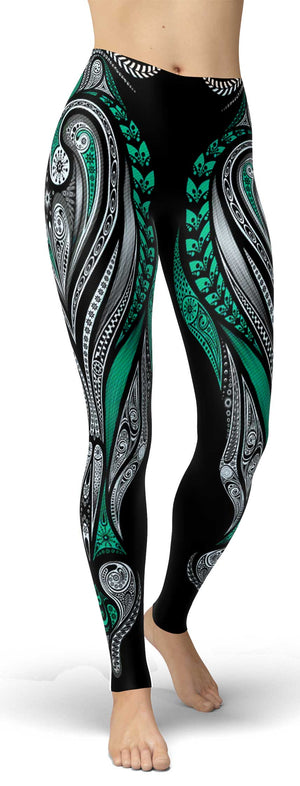Green Ornamental Leggings - front