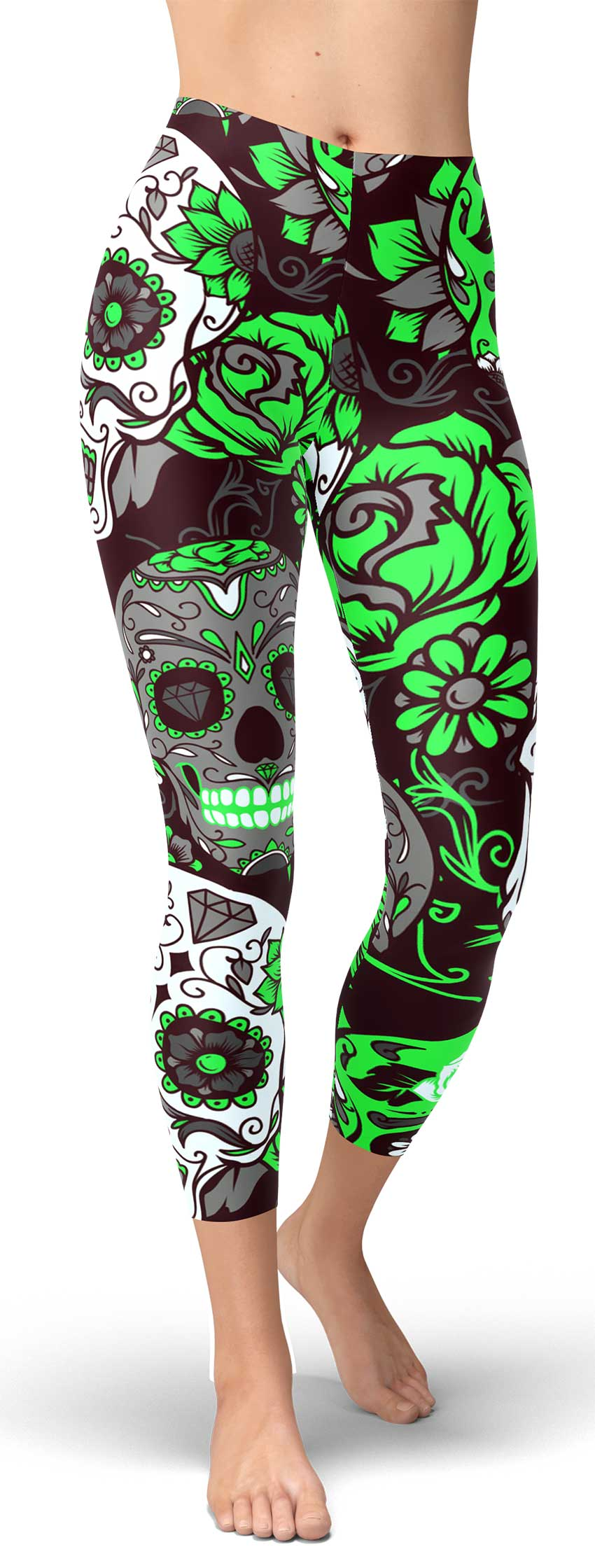 Green Sugar Skull Capri