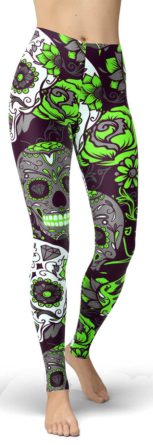 Green Sugar Skull Leggings - front