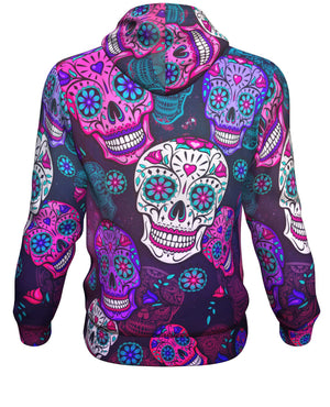Orange Blue Sugar Skull Hoodie Back