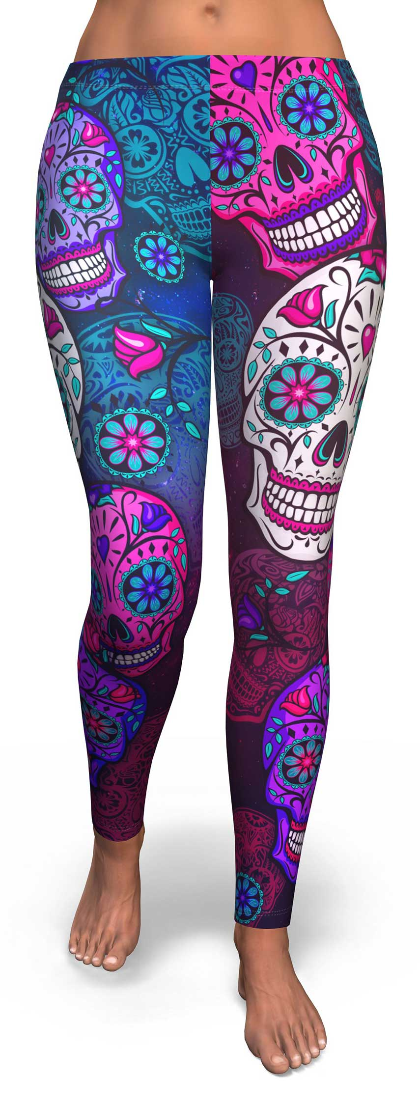 Orange Blue Sugar Skull Leggings