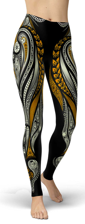 Orange Ornamental Leggings - front