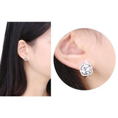 White Brass Zirconia Stud Earrings
