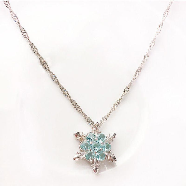 Vintage Blue Crystal Snowflake Zircon Flower Silver Necklace
