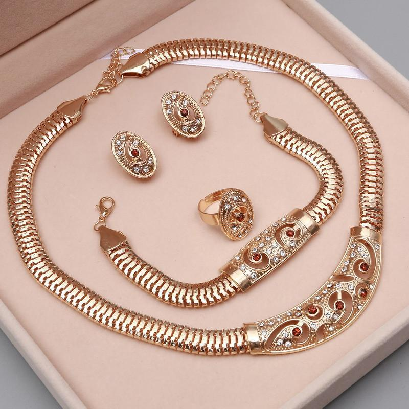 Gold Jewelry Set Necklace Earrings Bracelet & Ring – SleekZPro