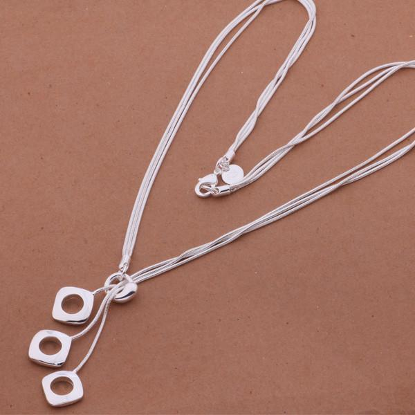 Hollow Square Silver Necklace