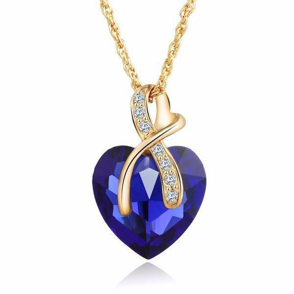 Gold Austrian Crystal Heart Necklace