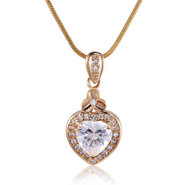 Gold White Murano Zircon Necklace