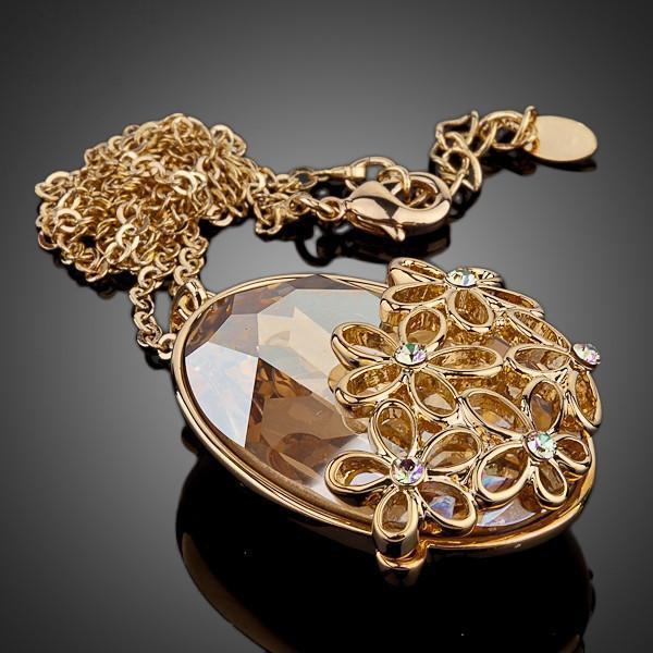 Flower Gold Austrian Crystal Necklace
