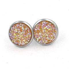 Stainless Steel Druzy Stud Earrings