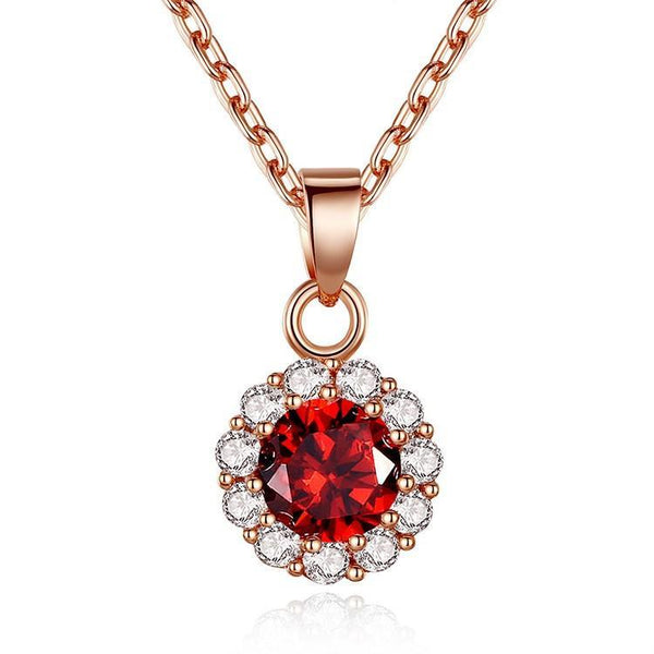 Gold Round Crystal Zircon Necklace