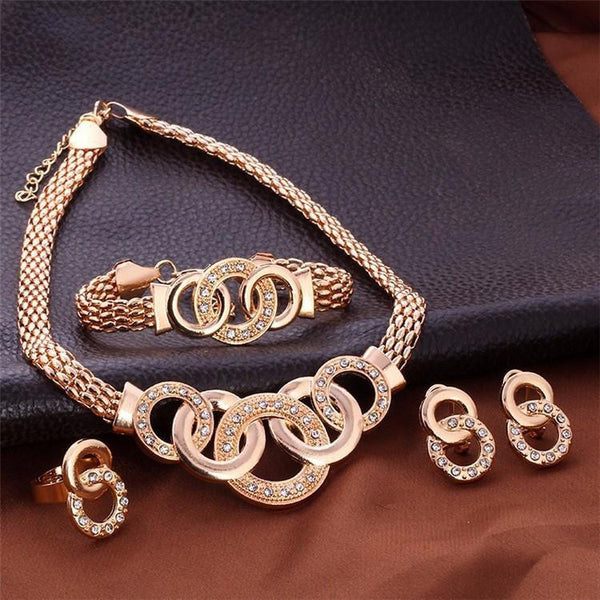 Gold Necklace, Earrings, Bracelet & Ring Jewelry Set
