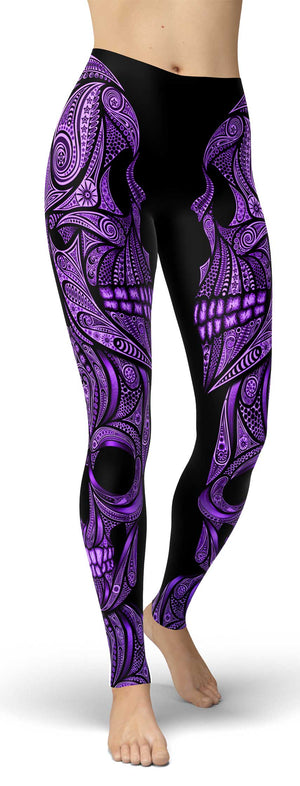 Purple Ornamental Skull Leggings - front