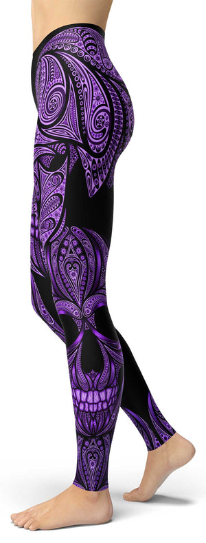 Purple Ornamental Skull Leggings