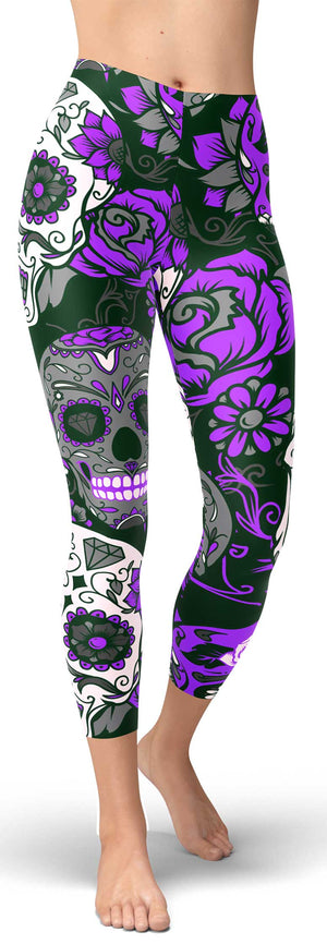 Purple Sugar Skull Capris - front