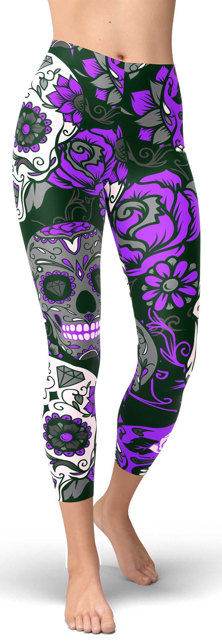 Purple Sugar Skull Capris