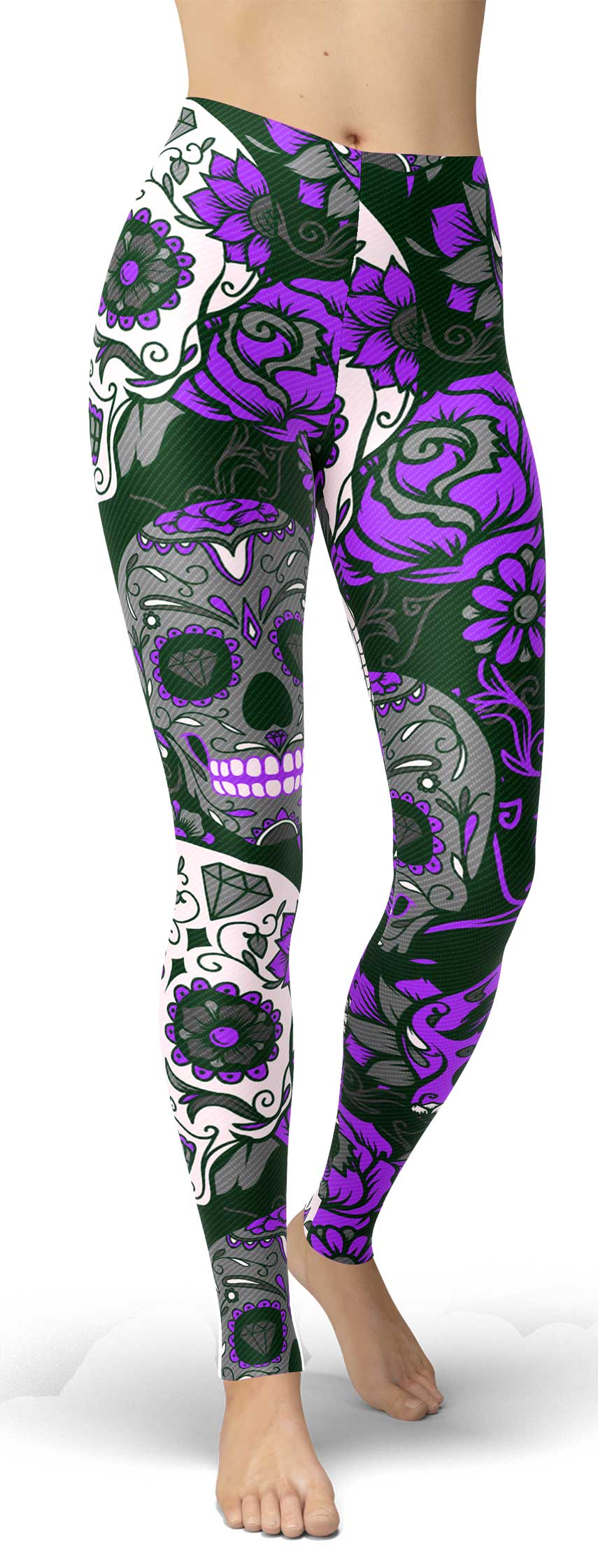 Purple Sugar Skull Leggings