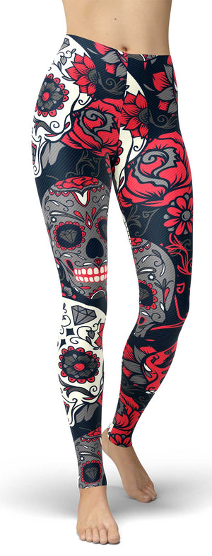 Red Sugar Skull Leggings - front view