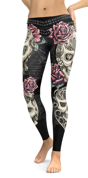 Skulls And Roses Leggings front