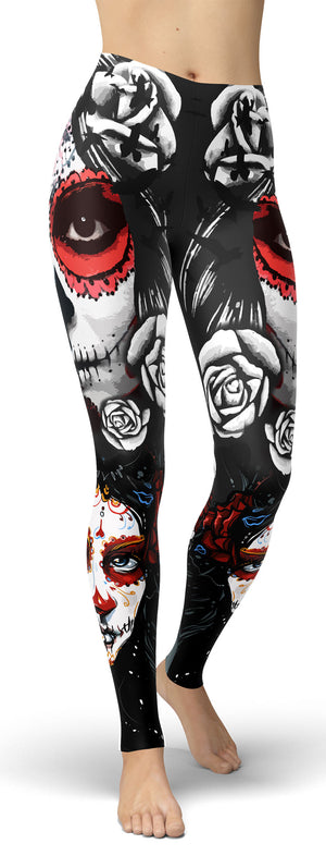 Sugar Skull Head Leggings - front