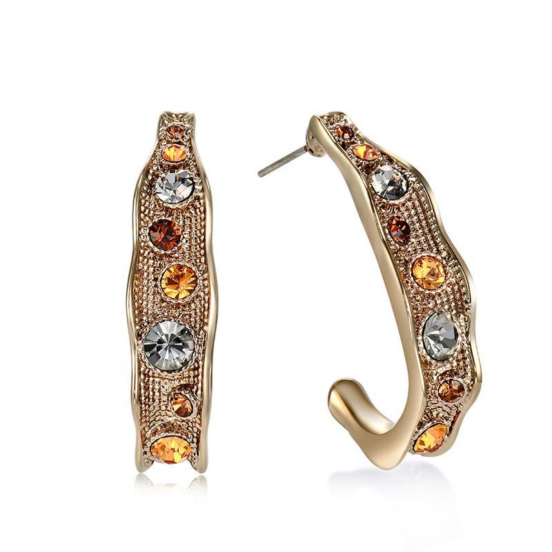 Gold Austrian Rhinestone Earrings