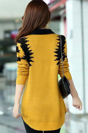 Yellow Elegant Dress Sweater Back