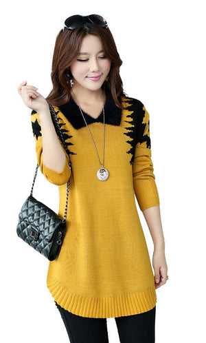 Yellow Elegant Dress Sweater