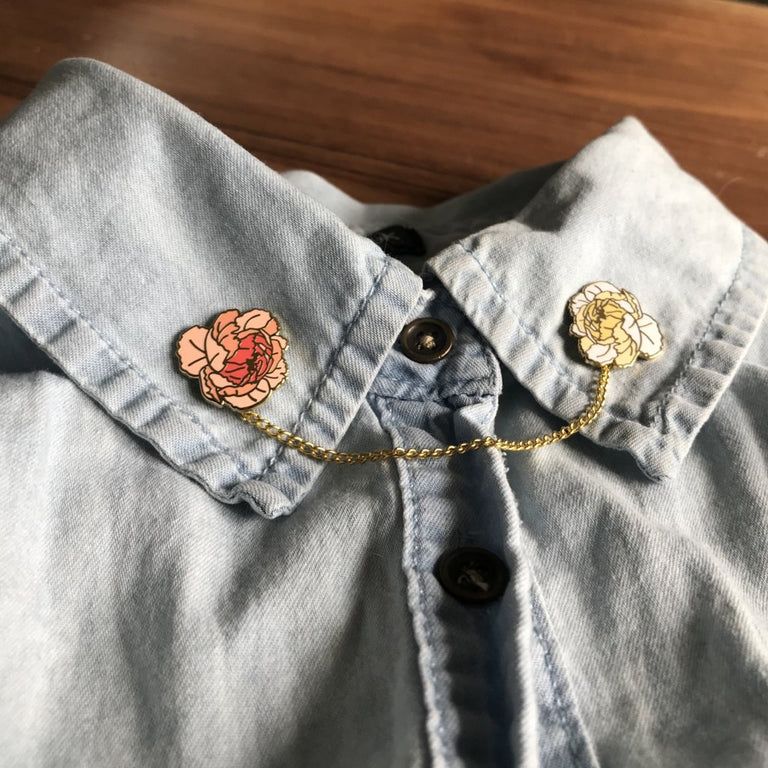 Peony Pin Pair - Lady No Brow - Feminist Fashion