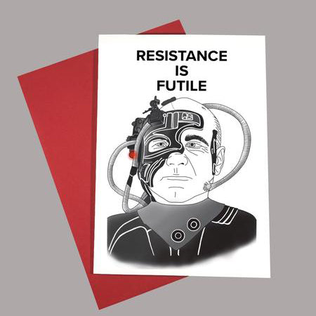Locutus Borg Greeting Card - Lady No Brow - Feminist Fashion
