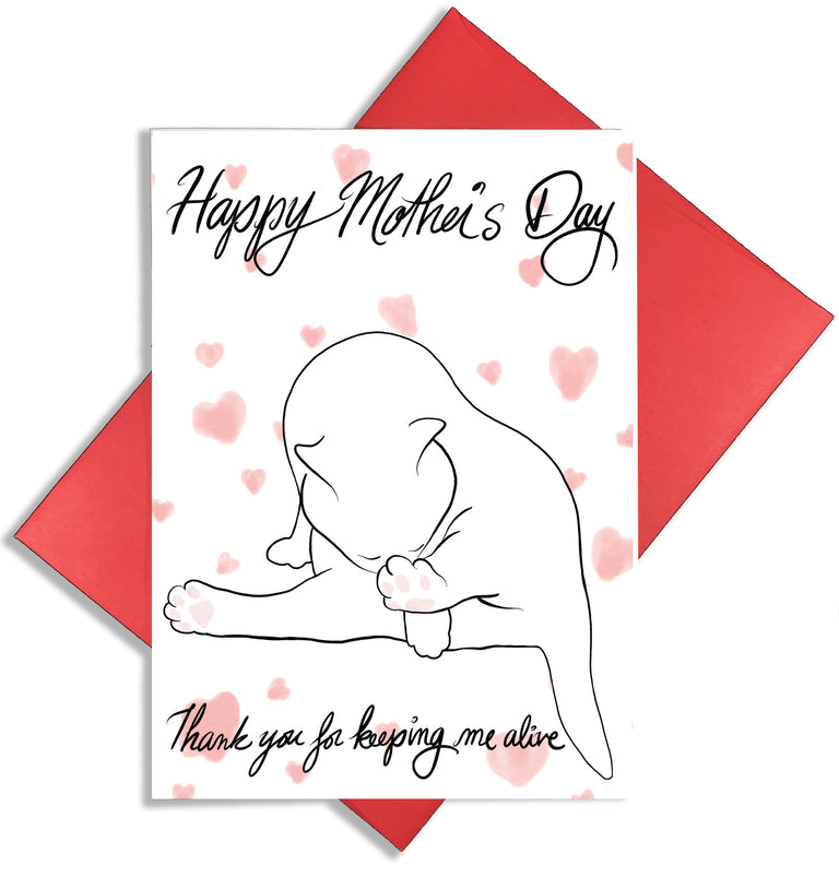 Mother's Day Cat Card - Lady No Brow Greeting Card