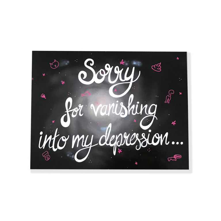 Sorry for Vanishing Into My Depression Postcard - Lady No Brow - Feminist Fashion
