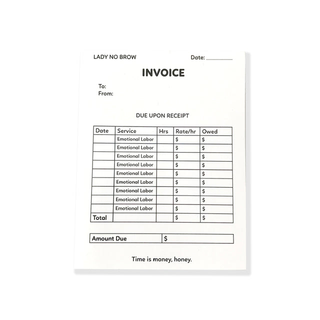 Emotional Labor Invoice Postcard - Lady No Brow - Feminist Fashion